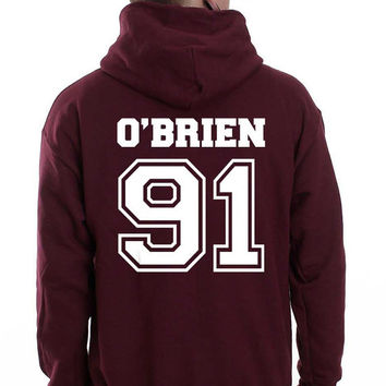 O'brien 91 on back Dylan O'Brien White ink Beacon hills lacrosse teen wolf Unisex Pullover Hoodie