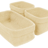 Crochet Baskets, Cream, Set of 3, Storage Baskets