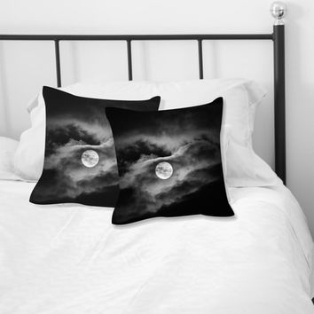 Full moon photo pillow, black and white home decor, cloudy skies cushion, contemporary soft furnishing cushion,