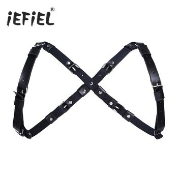 iEFiEL Mens Adjustable Faux Leather X-Shape Back Body Punk Shoulder Harness Belt Strap with Metal Buckles Cosplay Costume Belts
