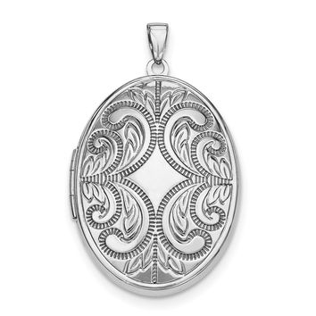 Sterling Silver Rhodium-plated Oval Scroll Locket QLS616