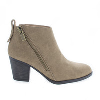Avenge01M Taupe Nubuck by Bamboo, Taupe Nubuck Zip Up Almond Toe High Chunky Heel Ankle Boots