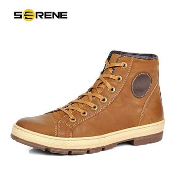 SERENE 2017 Men Boots Leather Lace-Up Men Fashion Shoes Retro Design Boots Tooling Boots Casual Botas Plus Size Warm Winter Boot