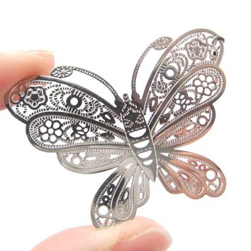 Large Butterfly Cut Out Shaped Dangle Drop Earrings in Silver | DOTOLY