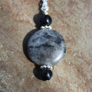 Labradorite and Obsidian Pendant on Sterling Silver Plated Chain for Magic, Adventure, Spiritual Healing, and Protection