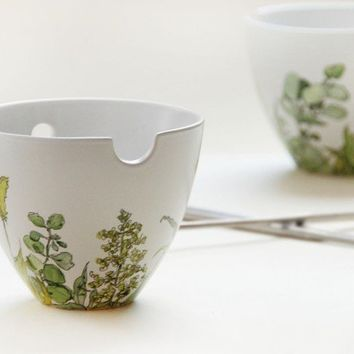 Painted Noodle Bowl Set with Chopsticks Grass Fields by yevgenia