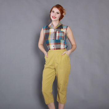 60s High Waisted CHARTREUSE CAPRI PANTS / Early 1960s Rockabilly Cotton Pedal Pushers xs