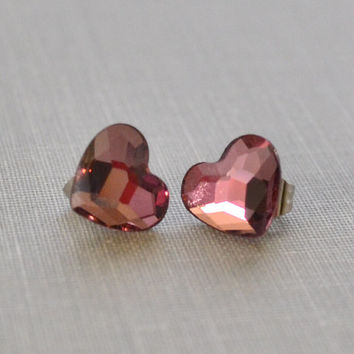 Pink Heart Studs, Antique Pink Heart, Swarvoski Rhinestone, Bridesmaid Earrings, Petite and Dainty, Valentine's Earrings, LePrintemps