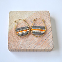 Grey/Orange Heishi Conus Shell Snowshoe Earrings