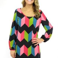 Multi Color Chevron Print Long Sleeve Dress