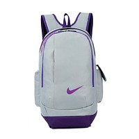 """Nike"" Casual Style Daypack Travel Bag Backpack Shoulder Bag School Backpack Grey purple"