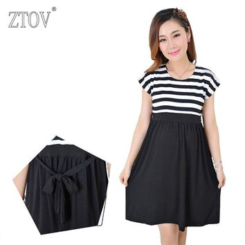 ZTOV Plus size Women Long stripe Dresses Maternity Nursing dresses for Pregnant Women ladies Women's Clothing Mother Clothes K23