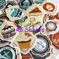 cupcake label cupcake sticker yummy food muffin Dessert tea Time bakery label food party cooking label recipes note book sticker gift set