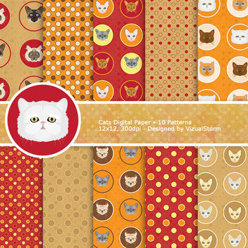 Cat Digital Paper Pack, red, orange, tan handmade printable backgrounds, polkadots and kitty cat heads, Buy 2 Get 1 Free, Instant Download