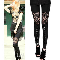 NEW punk gothic rock legging sexy lace splice Leggings free shipping