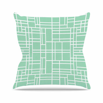"Project M ""Map Outline Mint"" Geometric Lines Throw Pillow"