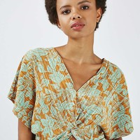 Floral Pleated Twist Front Top - Topshop