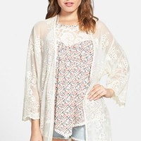 Junior Women's Mimi Chica Embroidered Mesh Kimono