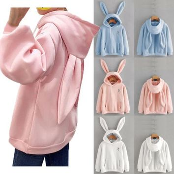 HIRIGIN Women's Long Sleeve Rabbit Ear Hoodies Casual Autumn Loose Pullover Jumper Sweatshirts