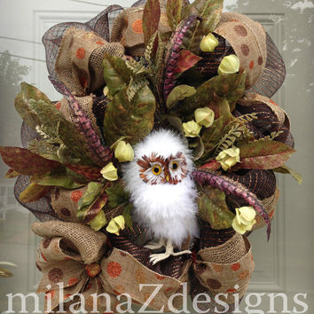 White Owl in the Green and Brown Forest, Fall Deco Mesh Burlap Wreath, Autumn Harvest Decor, French Country Decorations