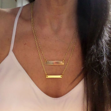 Double 14K Gold Filled Bar Necklace - Layering Gold Filled 2 Bar Pendant Necklace - Two Gold Filled Horizontal Bar Necklace