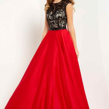 Studio 17 - 12699 Sequined Lace Illusion Jewel Satin A-line Gown