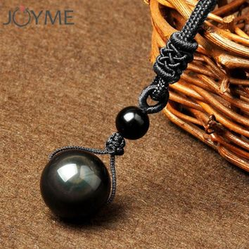 Black Obsidian Rainbow Eye Ball Natural Stone Pendant Necklace Transfer Lucky Love Crystal Power Jewelry For Women Men 18mm Bead