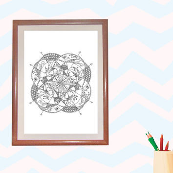 Digital Download Coloring Page,Adult Coloring,fish colouring,line drawing,Adult Coloring Page,Printable Digital Illustration,flower Line Art