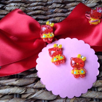 Red Hello Kitty Hair Bow Set Matching Earrings Ring