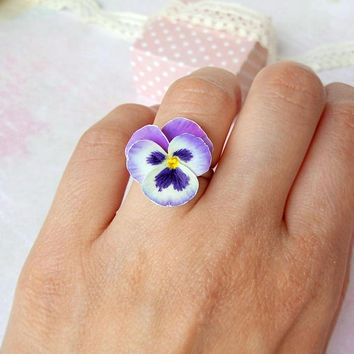 Pansy ring Flower floral ring violet ring Light purple Pansy floral jewelry Every day For girl For woman Gorgeous Polymer Clay flower