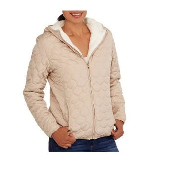 Climate Concepts Women's Hooded Quilted Jacket w/ Cozy Sherpa Lining, M, Mocha