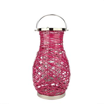 "18.5"" Modern Fuchsia Pink Decorative Woven Iron Pillar Candle Lantern with Glass Hurricane"