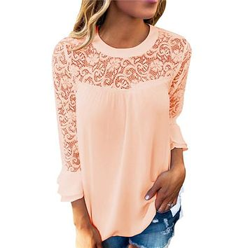 Elegant Hollow Out Lace Blouse