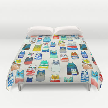 Lots of Watercolor Kitty Cats Duvet Cover by TigaTiga Artworks