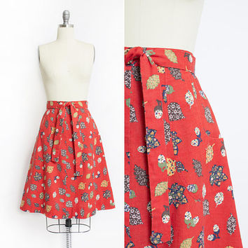Vintage 1970s Skirt - Coral Novelty Leaf Quilted Print Wrap Skirt Large - XL