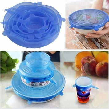 Gift 6Pcs/Set Silicone Stretch over The glass Cover Fresh Fruit Cup Fresh Copper Cup Silicone Sleeve Pan Kitchen Vacuum 54090