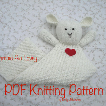 Lambie Pie Lovey PDF Knitting Pattern, Security Blanket, Easy Knit, Baby Toddler Boy & Girl