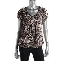 Style & Co. Womens Smocked Print Pullover Top