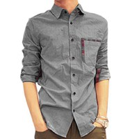 Men Korean Style Long Sleeve Plaid Button up Casual Shirt Gray S