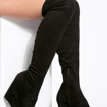 Black Faux Suede Thigh High Wedge Boots @ Cicihot Boots Catalog:women's winter boots,leather thigh high boots,black platform knee high boots,over the knee boots,Go Go boots,cowgirl boots,gladiator boots,womens dress boots,skirt boots.