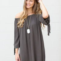 Whisper Off The Shoulder Dress - Olive Grey