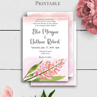 Blush Wedding Custom Invitation, Printable Wedding Cards, Shabby Chic Wedding Template, Modern Wedding, Blush Wedding Invite, Personalized