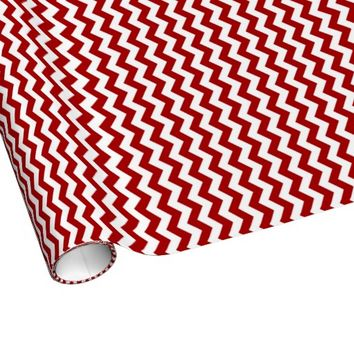 Red And White Chevron Stripes Wrapping Paper