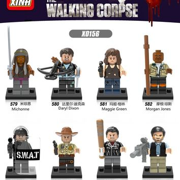 8pcs/lot Walking Dead Figure set Rick Grimes Negan Daryl Dixon Morgan Maggie Green Building Blocks Zombie Models Bricks Toys