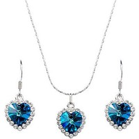 Stylish Ocean Hearth Jewelery Set Including Necklace and Earrings