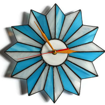 Starburst Clock turquoise blue and white, Unique Mid century modern Starburst Wall Clock Geometric, Stained Glass Wall Art Atomic Starburst