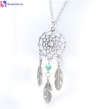 Fashion Jewelry for women 2016 New statement necklace round Alloy Necklace Retro Dream Catcher Pendant Chain Necklaces #0