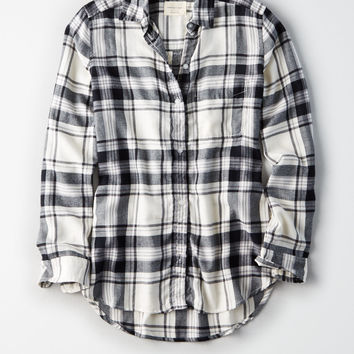 AE Plaid Boyfriend Button Up Shirt, White
