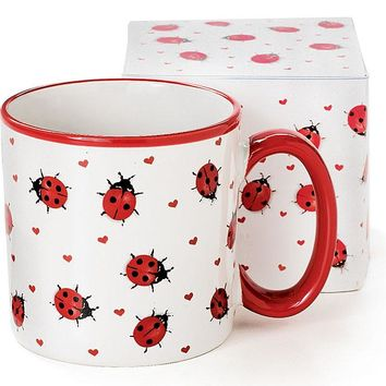 White Ladybug Mug with Gift Box