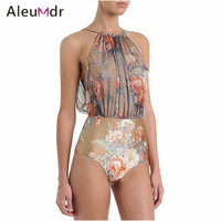 Sexy summer 2017 Women Print Swimsuit Bodysuit One-piece Swimwear Retro Floral Mesh High-waisted Monokini Swimsuit 41761